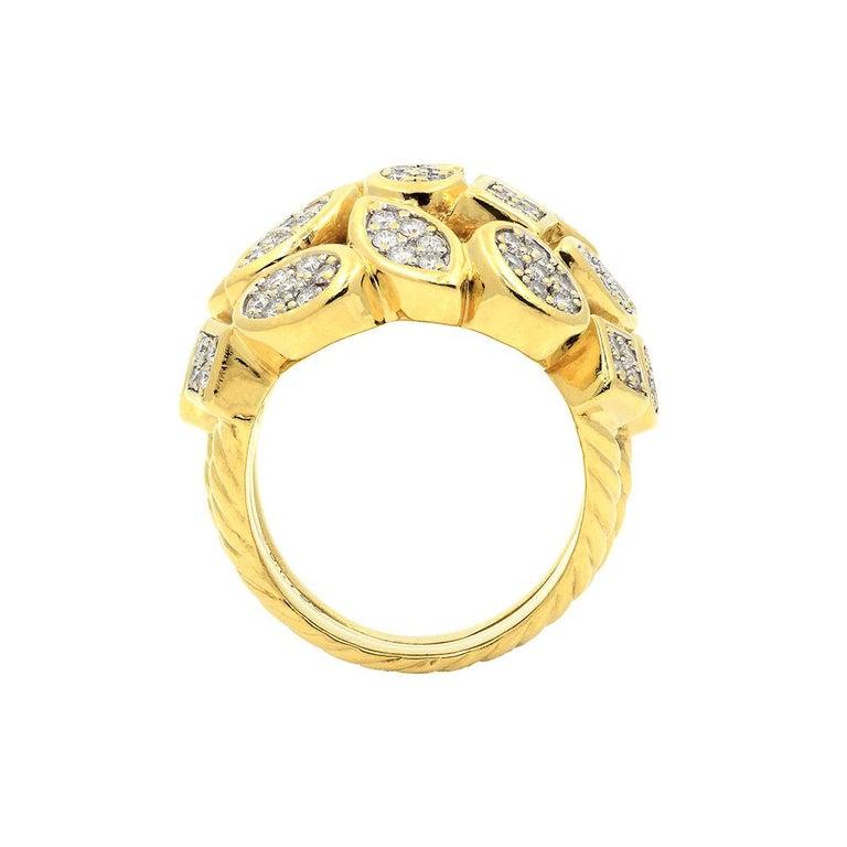 David Yurman 18k Yellow Gold Diamond Cluster Ring For Sale 9
