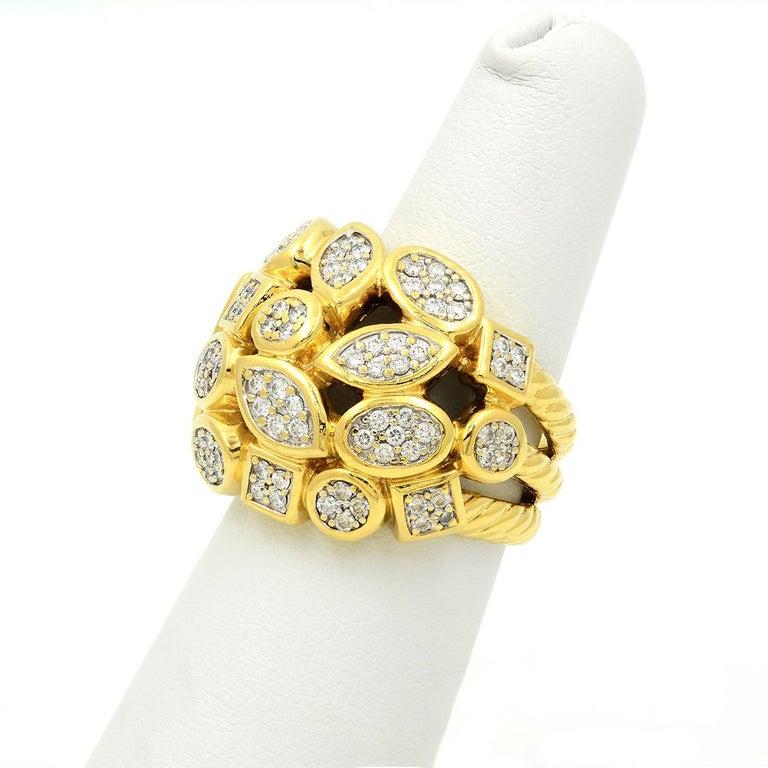 Modern David Yurman 18k Yellow Gold Diamond Cluster Ring For Sale