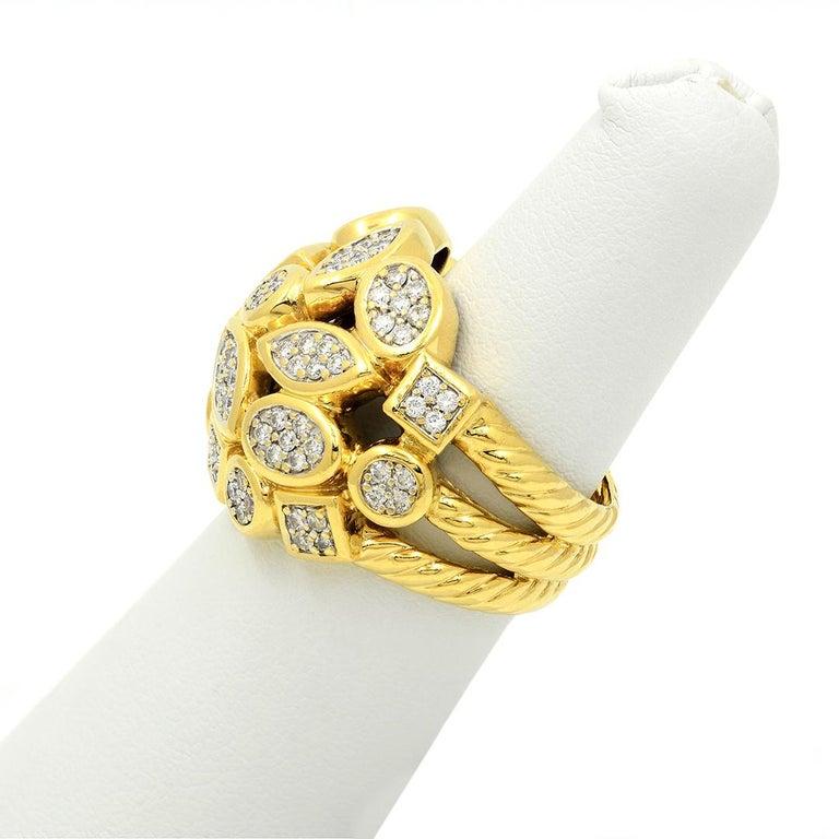 Brilliant Cut David Yurman 18k Yellow Gold Diamond Cluster Ring For Sale