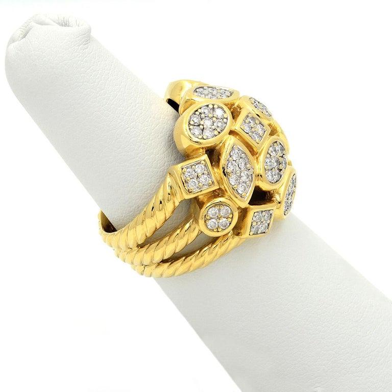 Women's David Yurman 18k Yellow Gold Diamond Cluster Ring For Sale