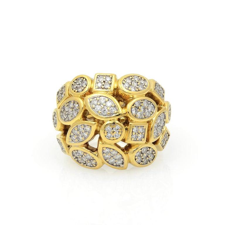 David Yurman 18k Yellow Gold Diamond Cluster Ring For Sale 1