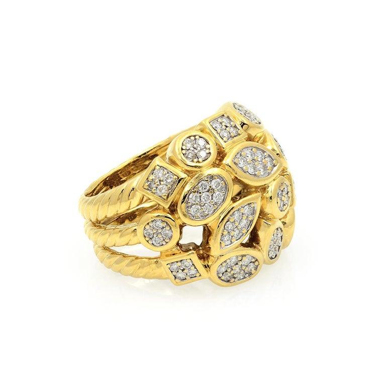 David Yurman 18k Yellow Gold Diamond Cluster Ring For Sale 2