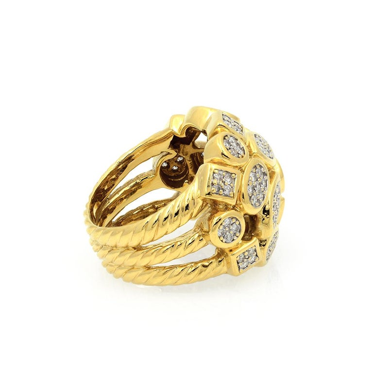 David Yurman 18k Yellow Gold Diamond Cluster Ring For Sale 3