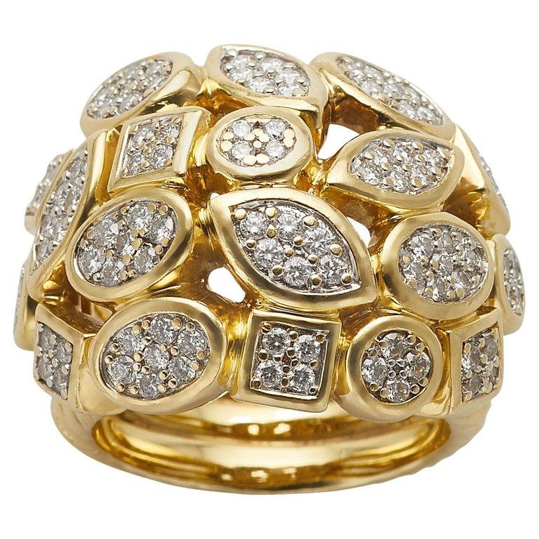 David Yurman 18k Yellow Gold Diamond Cluster Ring For Sale