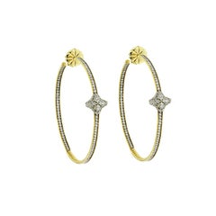 David Yurman 18K Yellow Gold Diamond Quatrefoil Extra Large Hoop Earrings