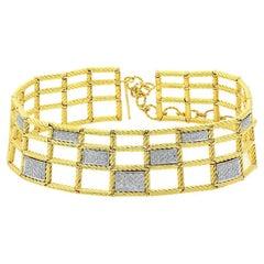 David Yurman 18k Yellow Gold Pave Diamond Lattice Collar Necklace