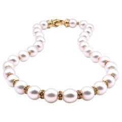 David Yurman 18 Karat Yellow Gold South Sea Pearls and Yellow Sapphire