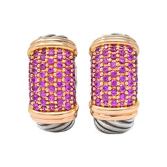 David Yurman 2.00 Carat Pink Sapphire Silver 18 Karat Rose Gold Metro Earrings