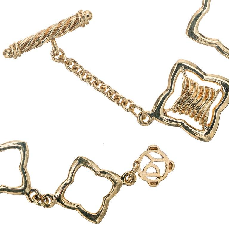 Round Cut David Yurman .32 Carat Diamond Quatrefoil Gold Link Bracelet For Sale