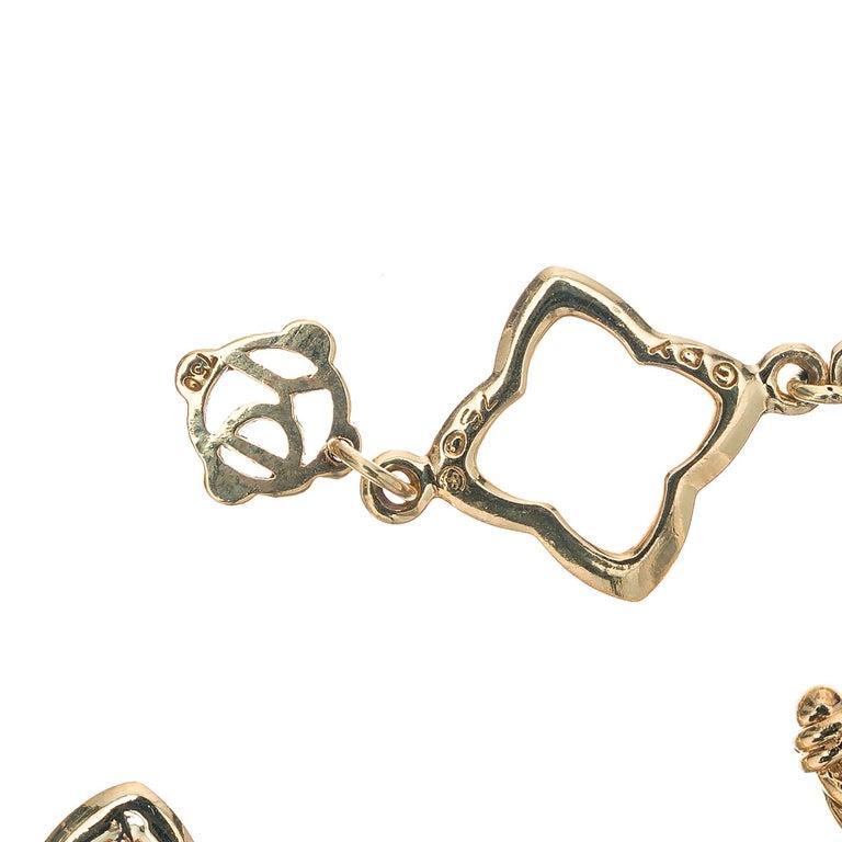 David Yurman .32 Carat Diamond Quatrefoil Gold Link Bracelet In Good Condition For Sale In Stamford, CT