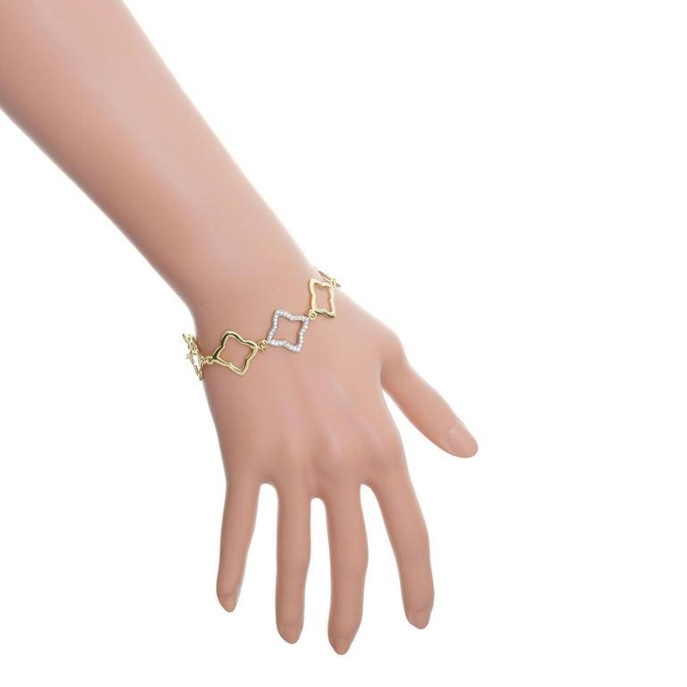 Women's David Yurman .32 Carat Diamond Quatrefoil Gold Link Bracelet For Sale