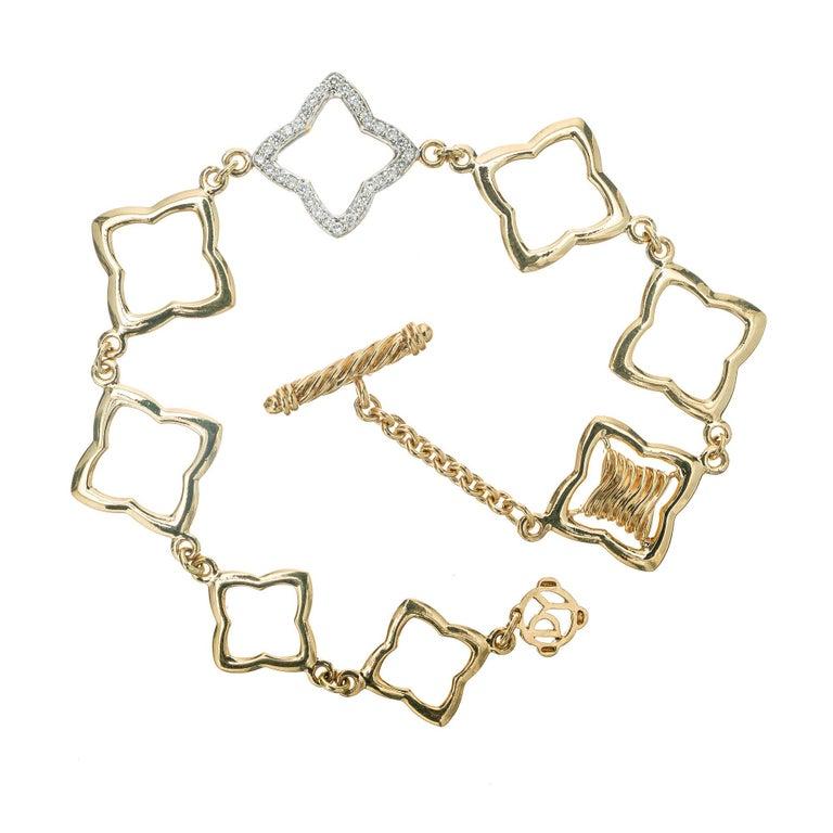 David Yurman .32 Carat Diamond Quatrefoil Gold Link Bracelet For Sale