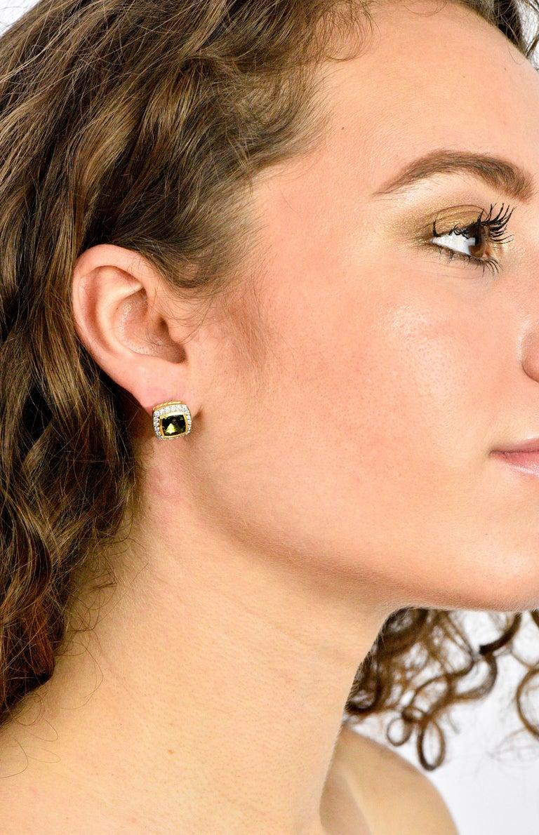 David Yurman 4.80 Carat Diamond Tourmaline 18 Karat Two-Tone Gold Stud Earrings For Sale 1