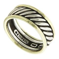 David Yurman 925 Silver and 14 Karat Yellow Gold Band Cable Ring
