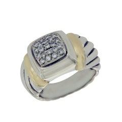 David Yurman 925 Silver and 18 Karat Gold Diamond Ring