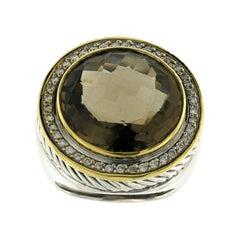 David Yurman 925 Silver and 18 Karat Gold Diamond Smoky Topaz Albion Ring
