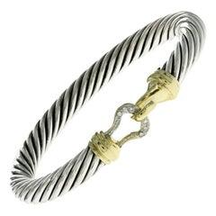 David Yurman 925 Sterling Silver & 18k Gold Diamond Hook Bangle Bracelet