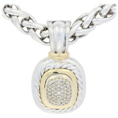 David Yurman Abion Enhancer Pendant and Wheat Chain Necklace Ster 18k 14k Gold