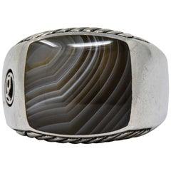David Yurman Agate Sterling Silver Men's Exotic Stone Ring