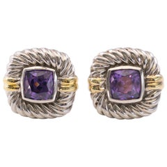 David Yurman Albion Amethyst, Sterling Silver and 14 Karat Yellow Gold Earrings