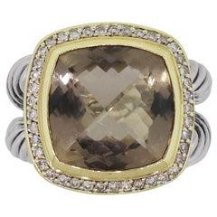 David Yurman Albion Diamond and Smoky Quartz Ring