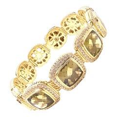David Yurman Albion Diamond Citrine Wide Link Yellow Gold Bracelet