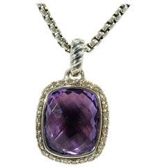 David Yurman Albion Diamond Pendant Necklace Amethyst Sterling Silver
