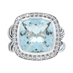 David Yurman Albion Green Amethyst & Diamond Ring Sterling, 925 Halo