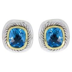 David Yurman Albion Mixed Metals Cushion Cut Blue Topaz Stud Earrings