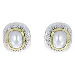 David Yurman Albion Mixed Metals Mabe Pearl Stud Earrings