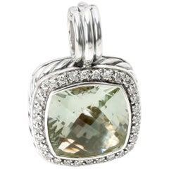 David Yurman Albion Prasiolite and Diamond Pendant in Sterling Silver 0.32 Carat