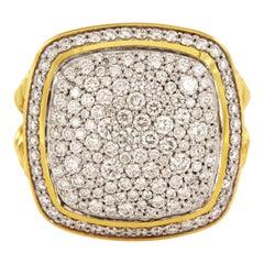 David Yurman Albion Ring with Diamonds in 18 Karat Gold