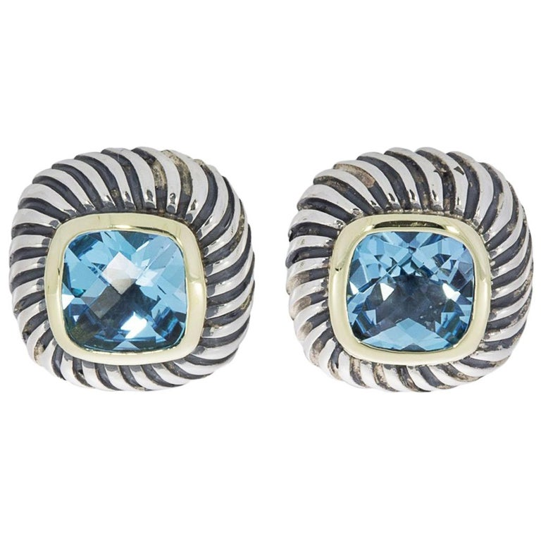 789d3ef7c David Yurman Albion Silver and Gold Cushion Blue Topaz Stud Earrings For  Sale