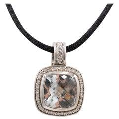 David Yurman Albion Silver Diamond and Prasiolite Pendant