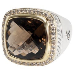 David Yurman Albion Smokey Topaz & Diamond Ring in 18K Gold & Silver 0.44 Carat