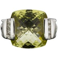 David Yurman Deco Sterling Silver Cushion Prasiolite & Diamond Ring