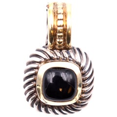"David Yurman ""Albion"" Sterling Silver and 14 Karat Gold Black Onyx Necklace"