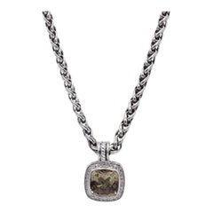David Yurman Albion Sterling Silver Citrine & Diamond Pendant Drop Necklace