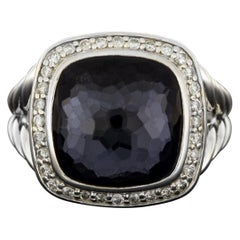 David Yurman Albion Sterling Silver Cushion Black Orchid and Diamond Halo Ring