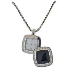 David Yurman Albion Sterling Silver Onyx Diamond Watch Pendant Necklace