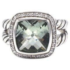 David Yurman Albion Sterling Silver Prasiolite & Diamond Cocktail Ring