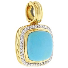 David Yurman Albion Turquoise and Diamond Gold Pendant