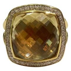 David Yurman Albion with Champagne Citrine and Diamonds in 18 Karat Gold Ring