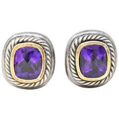 David Yurman Amethyst 14 Karat Yellow Gold Sterling Silver Albion Earrings