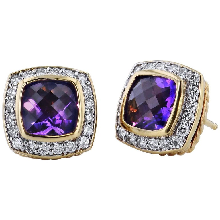 David Yurman Amethyst and 0.46 Carat Diamond Pave Albion Stud Earrings For Sale