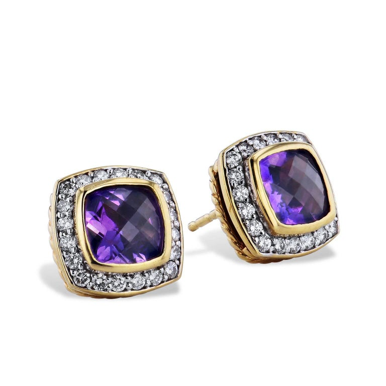David Yurman Amethyst and 0.46 Carat Diamond Pave Albion Stud Earrings In Excellent Condition For Sale In Miami, FL