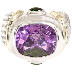 David Yurman Amethyst and Green Tourmaline Ring