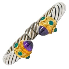 David Yurman Amethyst Chrysoprase Silver 14 Karat Gold Renaissance Cuff Bracelet