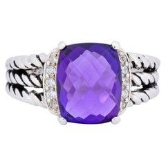 David Yurman Amethyst Diamond Sterling Silver Wheaton Ring