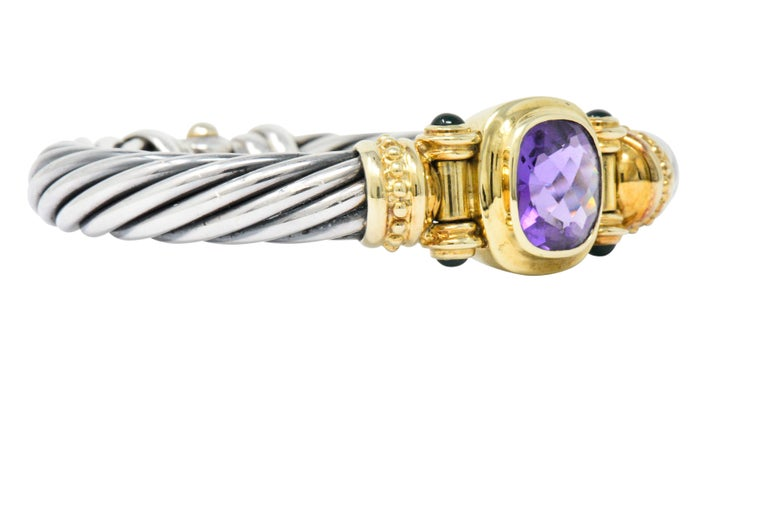 Contemporary David Yurman Amethyst Green Onyx Sterling Silver 14 Karat Gold Cable Bracelet